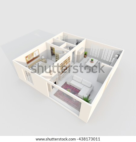 3d Interior Rendering Perspective View Of Furnished Home Apartment With Fireplace Room Bathroom