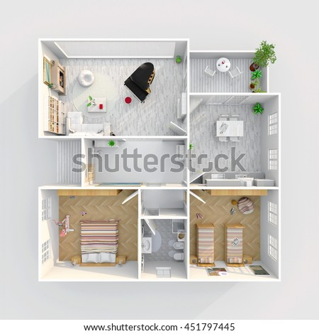 Apartment Room Plan 3d interior rendering furnished home apartment stock illustration