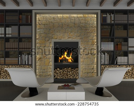 3D interior rendering with library and fireplace - stock photo