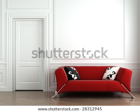 3d interior scene of a red couch on white classic wall - stock photo