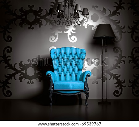 3D interior scene with blue classic armchair and lamp. - stock photo