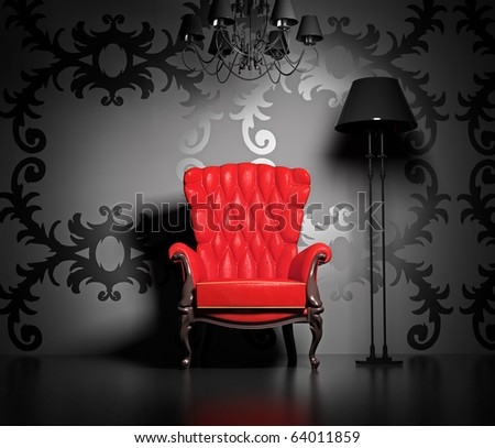 3D interior scene with classic armchair and lamp. - stock photo