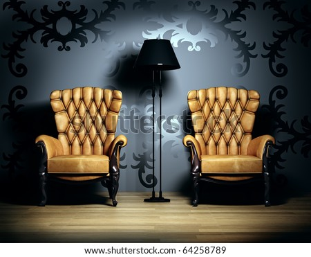3D interior scene with classic armchairs and  floor lamp. - stock photo