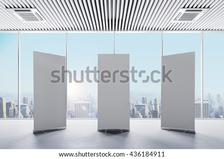 3d interior with  blank white roll up banners - stock photo