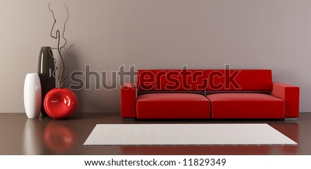 3d interior with couch and vases - stock photo