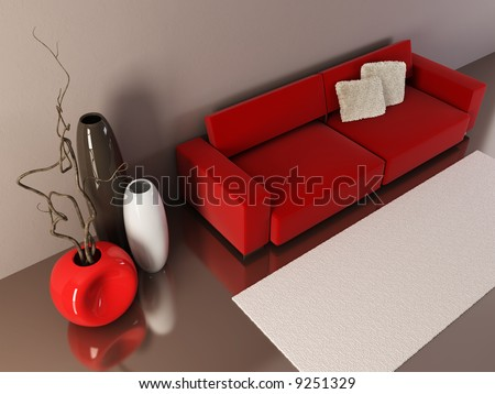 3d interior with couch and vases