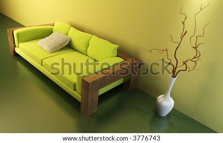 3d interior with modern couch - stock photo