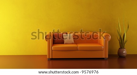3d interior with modern couch and plant - stock photo