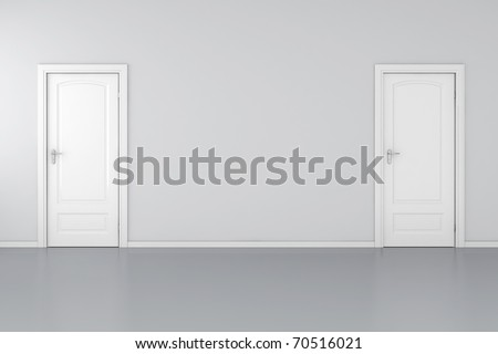 3d interior with 2 white doors and grey walls - stock photo