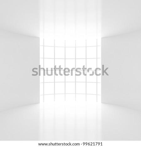 3d Interior with Windows - 3d illustation - stock photo