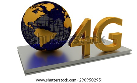 4D Internet connection and abstract global. Business concepts - stock photo