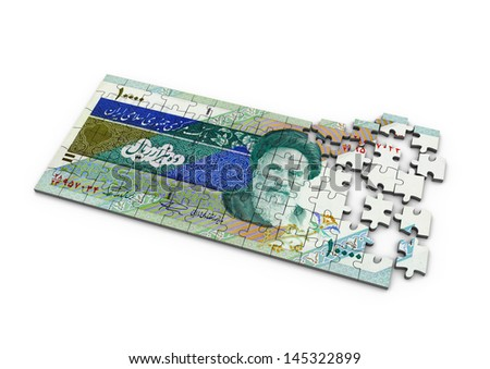 3D Iran money puzzle on isolated white background