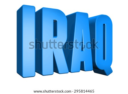 3D iraq text on white background