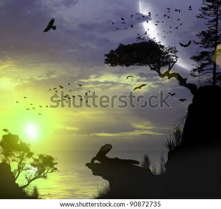 3d island in the ocean at sunset - stock photo
