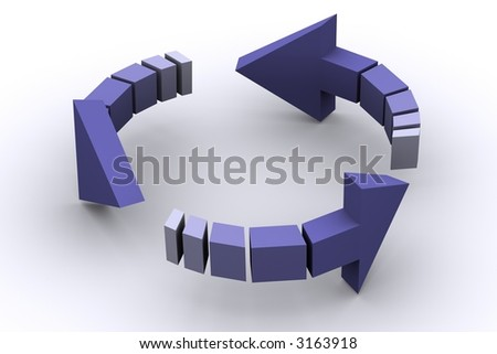 3d isolated arrows in circle - stock photo