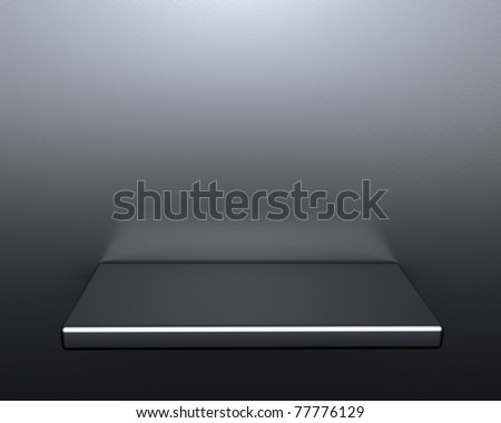 3d isolated empty metal shelf for exhibit. - stock photo