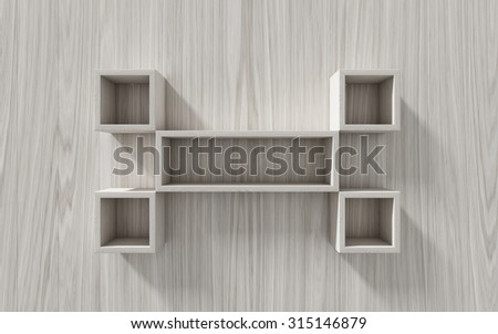 3d isolated Empty shelf for exhibit on wood background, concept - stock photo
