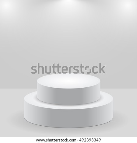 3d isolated Empty white podium on gray background
