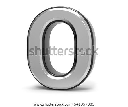 3D Isolated Metal Metallic O Letter Alphabet Logo Illustration.