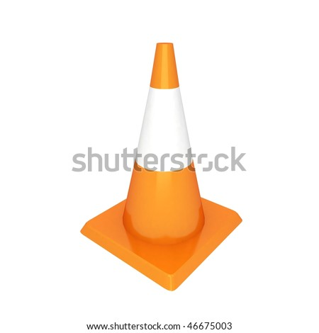 3d isolated traffic cone top view - stock photo