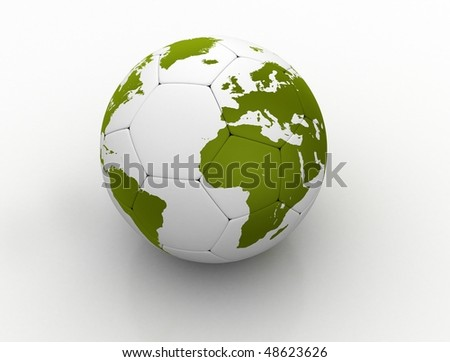3D isolated white soccer ball with world map