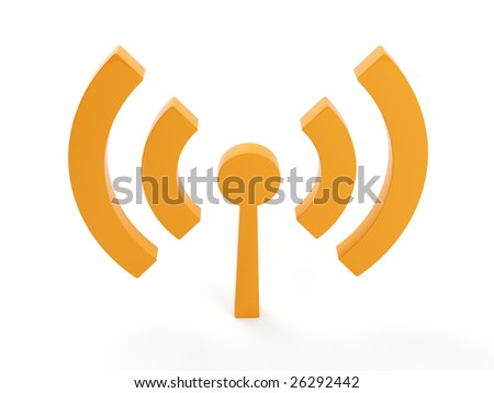 3d isolated wi fi (wireless) logo - stock photo