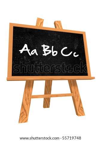 3d isolated wooden blackboard with text - abc - stock photo