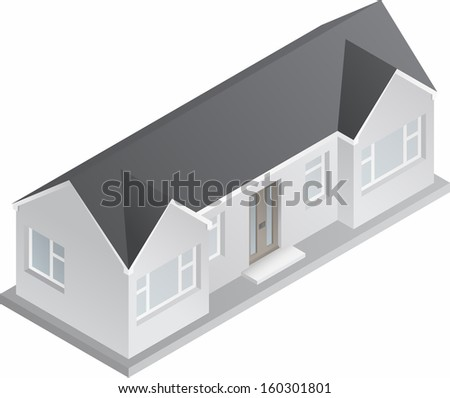 3d isometric drawing of a double fronted single story house/bungalow. Raster Version.