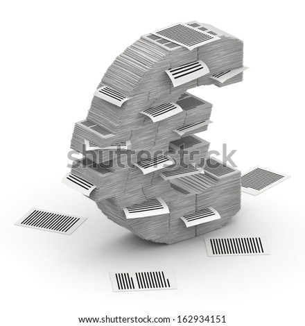 3D isometric euro sign , makes from stacks of paper pages font - stock photo
