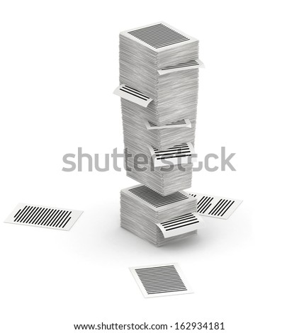 3D isometric exclamation mark , makes from stacks of paper pages font - stock photo