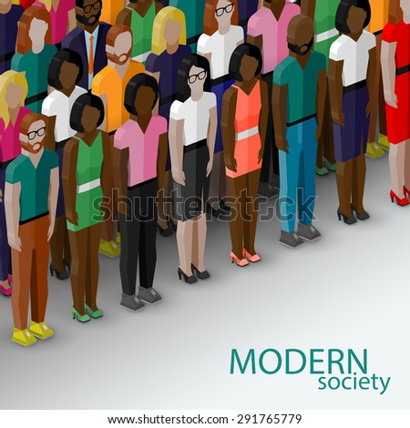 3d isometric  illustration of society members with a large group of men and women. population. modern society concept