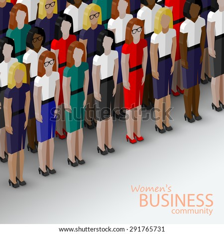 3d isometric  illustration of women business community. a large group of women (business women or politicians).  summit or conference family image