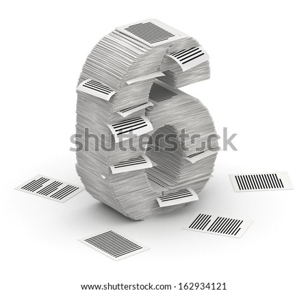 3D isometric number 6, makes from stacks of paper pages font - stock photo