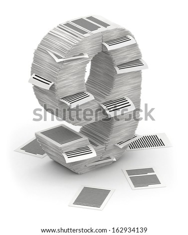 3D isometric number 9, makes from stacks of paper pages font - stock photo