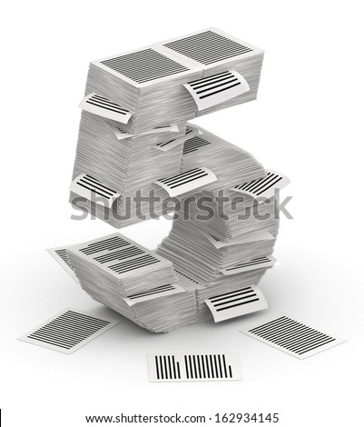 3D isometric number 5, makes from stacks of paper pages font - stock photo