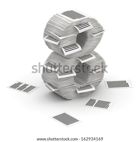 3D isometric number 8, makes from stacks of paper pages font - stock photo