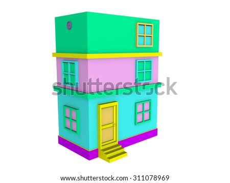 3D isometric pastel building on white background - stock photo