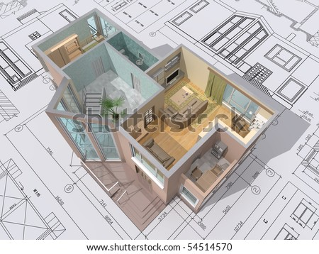 Stock Photo D Isometric View Of The Cut Residential House On Architect Drawing 54514570 3d House