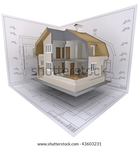 3D isometric view the cut residential house on architect's drawing. - stock photo