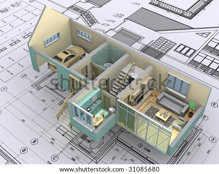 3D Isometric View The Cut Residential House On Architect?s Drawing.  Background Image Is