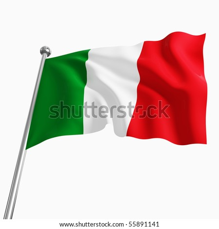 3d italian flag isolated on white background - stock photo