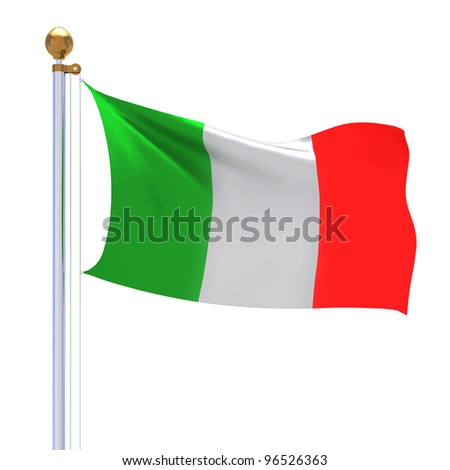 3d Italy flag on the white background