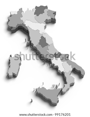 3d Italy grey map on white isolated - stock photo