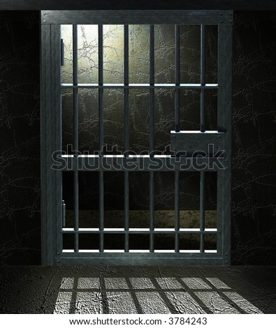 3D Jail cell door with a dramatic light in the inside - stock photo