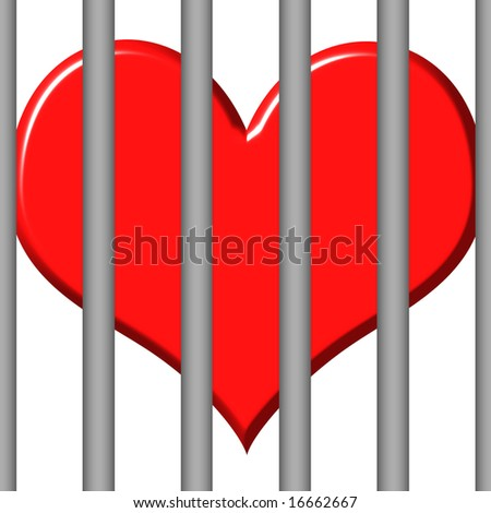 3d jailed heart - stock photo