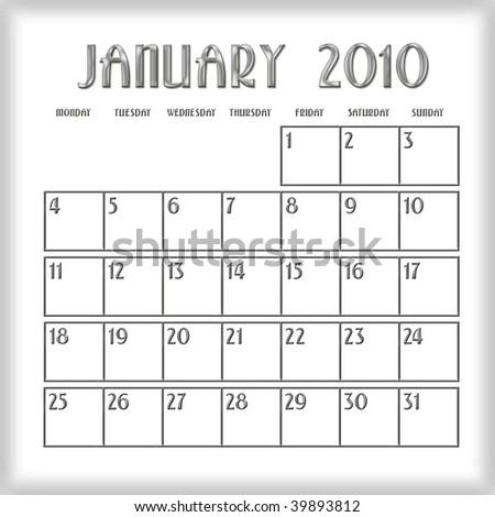 3d January 2010 agenda calendar - stock photo