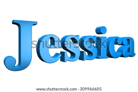 3D Jessica text on white background