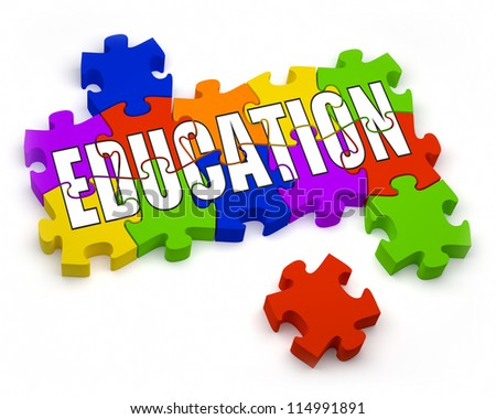 3D jigsaw pieces with text. Part of a series. - stock photo