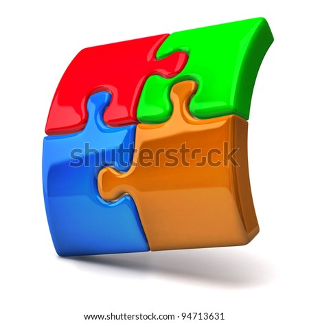 3d jigsaw puzzle - stock photo