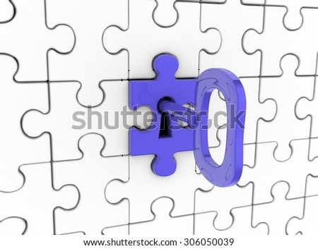 3d Jigsaw ( puzzle) and key in keyhole. - stock photo
